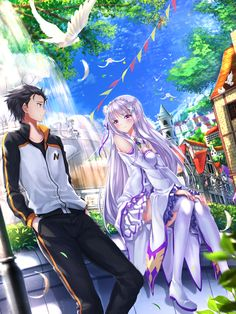 (Anime : Re:Zero Kara Hajimeru Isekai Seikatsu)(Characters : Emilia and Natsuki Subaru)  (Source : http://www.pixiv.net/member.php?id=512849)