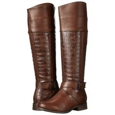 Wanted Showdown Women's Zip Boots, Brown ($45) ❤ liked on Polyvore featuring shoes, boots, brown, knee-high boots, side zipper boots, knee boots, buckle riding boots, buckle boots and zipper boots