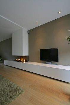 Minimalist Living Room Design Ideas With The Fireplace Home Fireplace, Modern Fireplace, Living Room With Fireplace, Fireplace Design, Living Room Tv, Living Room Interior, Home And Living, Muebles Living, Minimalist Living