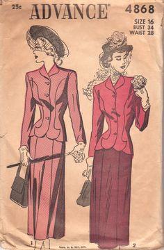 1940s Vintage Suit Pattern