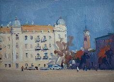 """Etude of Sofiyska sq. (Kyiv Cityscape)  2012  oil painting on board  18 x 25 cm (7"""" x 10"""")"""