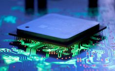 Download wallpapers processor, motherboard, neon lights, modern technology, chips, computer technology