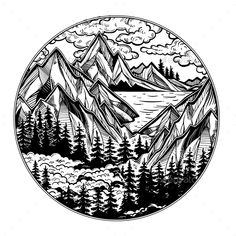 Adventure artwork for travel and wanderlust tattoo. round artwork with wilderness landscape scene with a lake, road, pine forest and mountains Travel Couple Quotes, Circle Drawing, Mountain Drawing, Wood Burning Patterns, Pine Forest, Pen Art, Coloring Pages, Art Drawings, Wanderlust