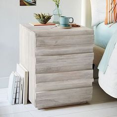 love this! More of a beachy, casual vibe. tons of storage. Stria Nightstand - Cerused White #westelm