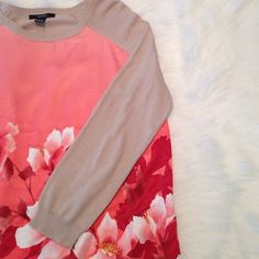 Pink silk floral long sleeve The long sleeve and back portion is tan! The front is silky soft with floral pattern! NEVER WORN!! Forever 21 Tops