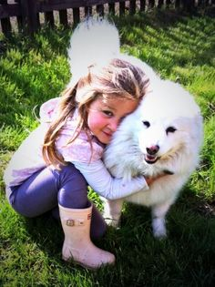 This is our 5-year-old girl with one of our dogs, a japanese spitz cross named Muffin.   The Cotswolds is a great place visit with your dog... so many hotels and cottages happily accept dogs and you'll never run out of beautiful places to walk with them. #Cotswold #Cotswolds
