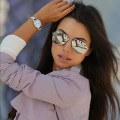 1 LEFT!!Silver mirror aviator sunglasses Summer is almost here and so is the sunshine! Polarized mirror aviator sunglasses with UV400 protection. Major fashion statement! trades, price is firm! Lexi's Boutique Accessories Sunglasses