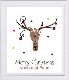 Reindeer Footprint Wall Art - your child's actual prints! grandpa and grandpa christmas gift, baby's first christmas, footprint kit Custom Reindeer Footprint Keepsake. Made from your child's actual footprint! Baby Christmas Crafts, Babies First Christmas, Kids Christmas, Holiday Crafts, Holiday Decor, Christmas Cards, Handprint Christmas Art, Thanksgiving Cards, Reindeer Footprint