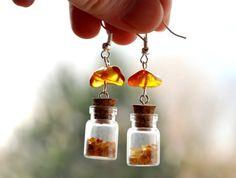 Amber Earrings Dangle Earrings Modern Earrings by MAGcraftsy, $19.99