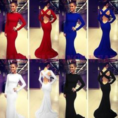 Very Beautiful White/Black/Red/Royal Blue Evening Dress for Ladies Long Prom Dress/Celebrity Fashion $99