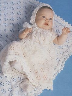 Lace Christening Gown, Bonnet, Shawl and Bootees Free Knitting Pattern. Skill Level: Intermediate Wonderful Christening layette to knit for baby in lace. Free Pattern More Patterns Like This! Crochet Christening Patterns, Lace Christening Gowns, Vintage Crochet Patterns, Baby Knitting Patterns, Free Knitting, Baby Christening, Layette Pattern, Baby Shawl, Knit Baby Dress
