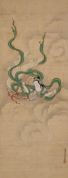 Apsaras (飛天) by Kiyohara Yukinobu; Edo period