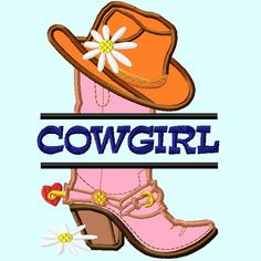 Split Cowgirl Hat on Boot Applique Embroidery by LunaEmbroidery, $3.99