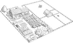 Homestead Plan For 1/2 An Acre. 12 garden beds, fruit & nut trees, herbs, chickens, dairy goats, bee hives...