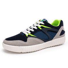 Men Color Match Breathable Comfortable Lace Up Casual Sport Shoes