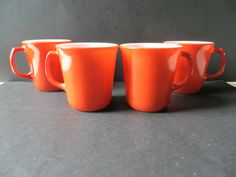 Pyrex Burnt Orange Mugs Set of 4