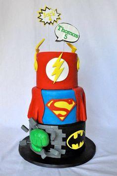 Super hero cake, Superman, Hulk, Flash, Batman.