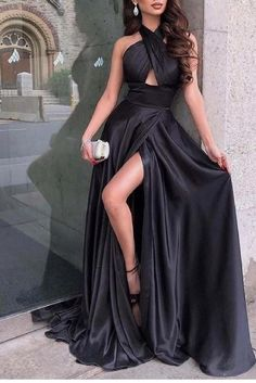 Black Bridal Dresses, Pretty Prom Dresses, Prom Dresses For Teens, Prom Outfits, Gala Dresses, Elegant Dresses, Black Evening Dresses, Flowy Prom Dresses, Black Girl Prom Dresses