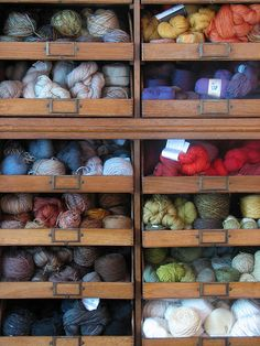 Look at this beautiful yarn stash - such inspiration on those shelves ;-) lesliehsimon via ravelry