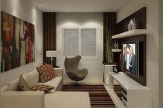 Sala de TV com cortina de tecido e persiana
