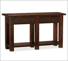 """Benchwright Console Table   Pottery Barn Overall: 54"""" wide x 15"""" deep x 30"""" high; Top: 54"""" wide x 15"""" deep x 1.5"""" thick; Drawer Interior (2): 17.5"""" wide x 9"""" deep x 3.5"""" high; Shelf Interior (1): 43"""" wide x 7"""" deep x 18"""" high; Clearance under piece: 3""""; Distance between legs: 20"""" side to side; 7"""" front to back"""