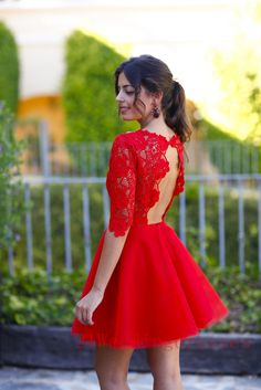 Hot Sales Red Lace Short Prom Dresses, Homecoming Dresses,Cocktail Dresses,O-neck Backless Half Sleeves Sexy Prom Dress http://21weddingdresses.storenvy.com/products/10379568-hot-sales-red-lace-short-prom-dresses-homecoming-dresses-cocktail-dresses-o