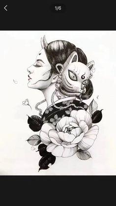 cute drawings of love Japanese Geisha Tattoo, Japanese Drawings, Japanese Tattoo Designs, Japanese Sleeve Tattoos, Geisha Tattoos, Geisha Tattoo Design, Body Art Tattoos, Tattoo Drawings, Art Drawings