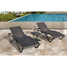 Breeze 3-piece Brown Wicker Chaise Lounge Outdoor Furniture Set | Overstock.com