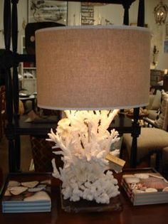 Unusual Table Lamp with Genuine Coral Base, Multiple Varieties and Sizes of Natural Coral, Colors Vary, Lucite Base (If Shipped, Must Ship Via White Glove Delivery)