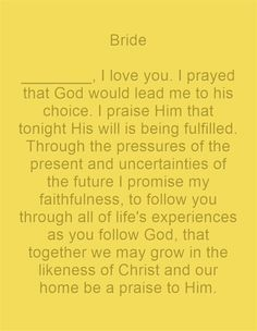 Christian Wedding Vows Bride I Love You More