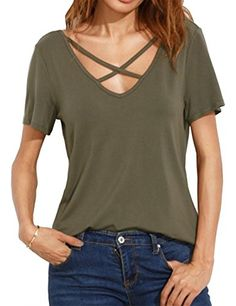 Womens Cross Front Tops Deep V Neck Casual Teen Girls Tees T ShirtsArmy GreenXL *** Click image for more details.Note:It is affiliate link to Amazon. #unitedstates