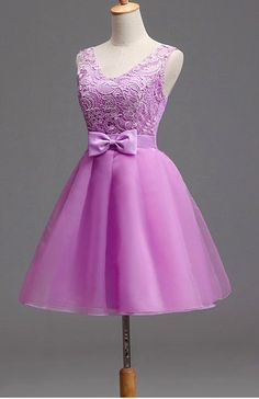 Light Purple Tulle and Lace Cute Party Dress with Bow, Lovely Tulle Party Dress with Lace-up Back Quinceanera Dama Dresses, Homecoming Dresses, Cute Dresses For Party, Party Dress, Dress With Bow, Lace Dress, Debutante Dresses, Short Frocks, Cocktail Dress Prom