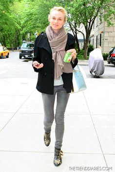 Diane Kruger, Chloe Susanna boot, available at Halo Shoes (call for price and size availability)