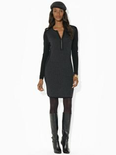 Crewneck Houndstooth Dress