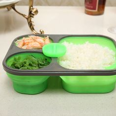 1100ml Silicone Collapsible Lunch Bento Box Folding Food Storage Container Picnic Dinnerware