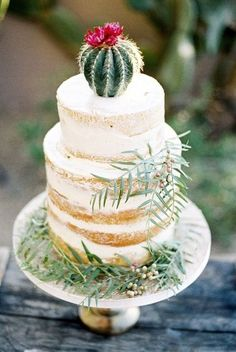 I Dream Of Arizona Wedding Inspiration Cactus wedding cake! Cupcake Torte, Cactus Cake, Mini Cactus, Cactus Flower, Naked Cakes, Bolo Cake, Wedding Cake Inspiration, Wedding Ideas, Wedding Decor