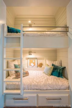 Built-in bunks can be placed in hallways in vacation homes with curtain in front for privacy. Extra sleeping without extra room.
