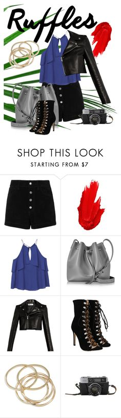 """""""Ruffle top"""" by insensitiviti ❤ liked on Polyvore featuring rag & bone/JEAN, Maybelline, MANGO, Lancaster, Yves Saint Laurent and ABS by Allen Schwartz"""