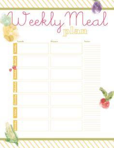 FREEBIE: Printable Meal Planner - Designs By Miss Mandee