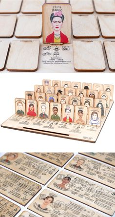 Who's She: A Laser-Cut Guessing Game That Celebrates Accomplished Women Throughout History Guess Who: Accomplished Women in History Version. Activities For Kids, Crafts For Kids, Arts And Crafts, Science Kits For Kids, Speech Activities, Group Activities, Guessing Games, Diy Games, Montessori Toys