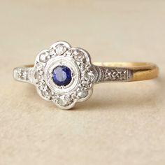 Art Deco Sapphire & Diamond Lacy Flower Engagement Ring, Antique Sapphire Platinum 18k Gold Ring