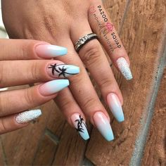 Nails 59 Amazing Palm Tree Nail Designs For Summer Bathroom Remodeling: Five Thing Best Acrylic Nails, Summer Acrylic Nails, Summer Nails, Fall Nails, Winter Nails, Pink Summer, Spring Nails, Summer Beach, Summer Time