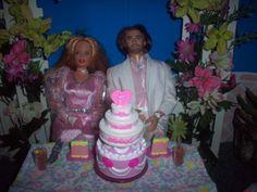 1:6 OOAK dollhouse backyard patio wedding Wedding cake using various pieces from Barbie wedding cakes