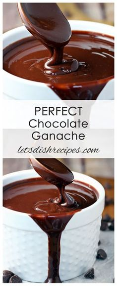 Perfect Chocolate Ga Perfect Chocolate Ganache Recipe: This smooth rich chocolate ganache is the perfect topping for so many decadent desserts. And its surprisingly easy to make! Perfect Chocolate Ganache Recipe, Chocolate Paleo, Chocolate Ganache Frosting, Chocolate Topping, Chocolate Glaze, Homemade Chocolate, Chocolate Recipes, Easy Ganache Recipe, White Chocolate