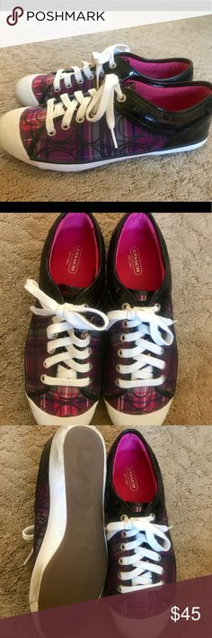 Coach Zorra Logo Purple & Black Sneakers These were hardly worn. Size 9B. Coach Shoes Athletic Shoes