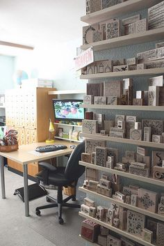 Craft Room...3 | Flickr - Photo Sharing!  narrow picture frame shelves from IKEA (Ribba Picture ledges)