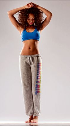 YAY - My favorite sweats are finally here!  Be the first to shout Hard Tail in their new old school pant - The comfiest sweatpant, (inside draw string and elastic cuff) in heather made from 96% cotton and 4% lycra you've ever worn plus Hard Tail is spelled out in rainbow neon along the side.  We have bragging rights - Yes the first pair is mine.