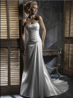 Wholesale Cheap Cheap Ivory Strapless Beaded Neckline Empire Wasit Chapel Train Satin Wedding Dress for Brides