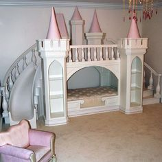 Pint Sized Fun Luxury Playhouses Princess Palace Playhouse Bed at PoshTots Princess Castle Bed, Girls Princess Room, Princess Palace, Cinderella Princess, Princess Playhouse, Princess Toddler Bed, Princess Bedrooms, Dark Princess, Princess Canopy