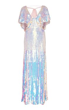 This **Temperley London** Bardot Metallic Dress features front slits and an enhanced v-neckline. Front Slit Dress, White V Neck Dress, Dress Up, Play Dress, Fancy Dress, White Evening Gowns, Evening Dresses, Holographic Dress, Holographic Fashion
